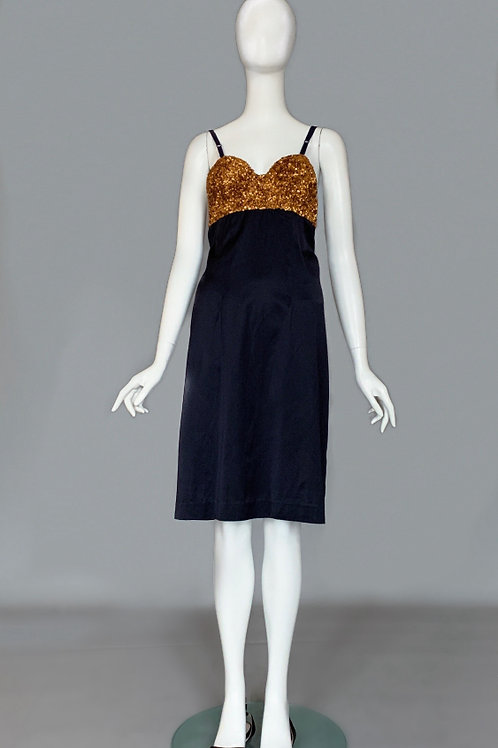 Платье чёрное с золотым лифом, расшитым пайетками