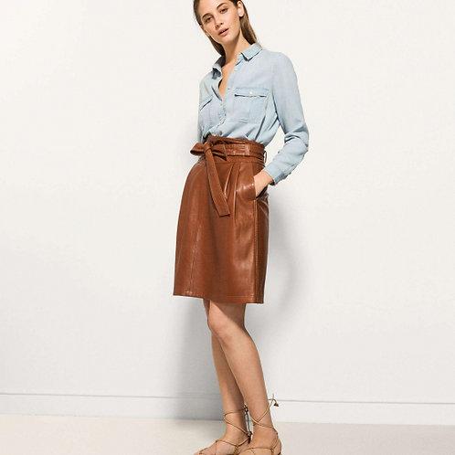 Massimo Dutti юбка из кожи (коричневый)
