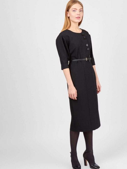 Черное миди платье