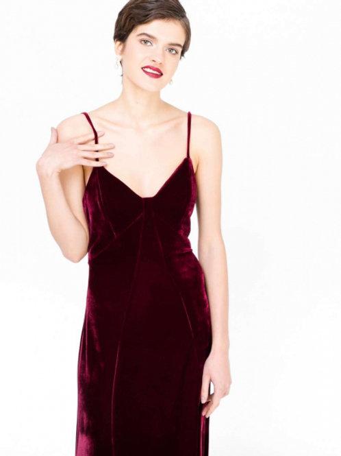 Платье комбинация бархатное (бордовое)