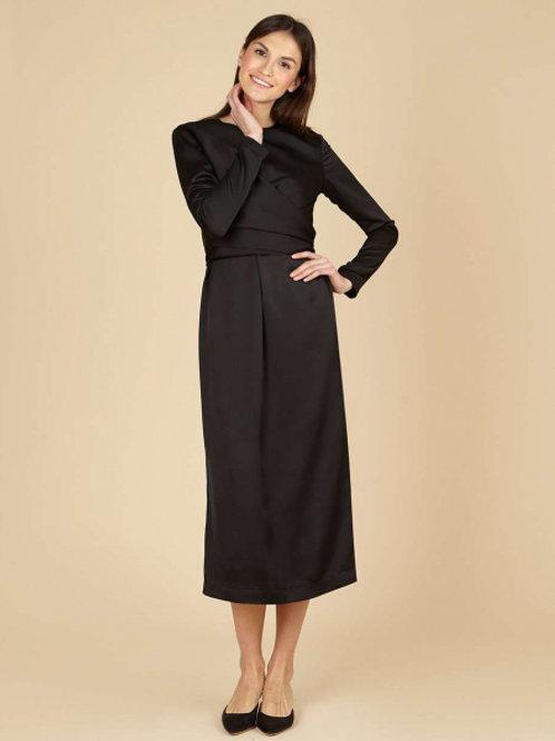 12STOREEZ Платье миди с завязками (Черный)