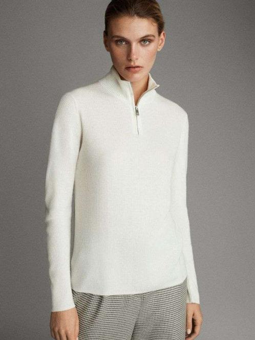 Massimo Dutti свитер с молнией из шерсти (белый)