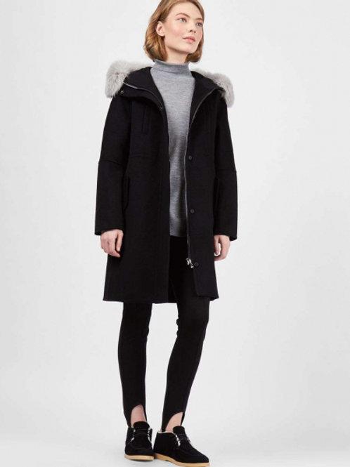 Пальто со съемным меховым капюшоном и подкладкой (Черный)