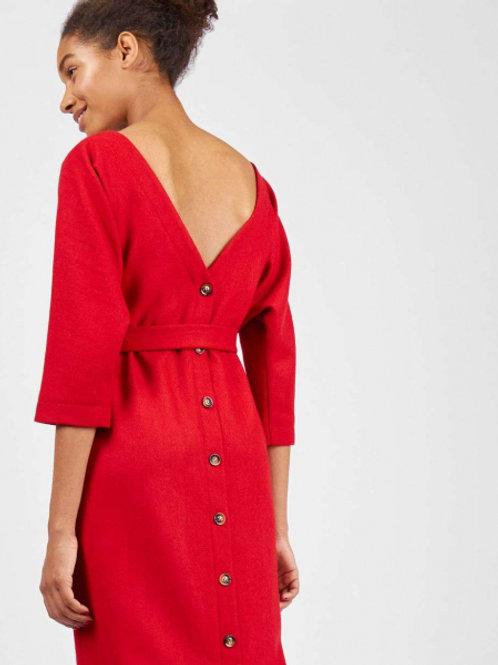 Платье миди шерстяное с поясом (красное)