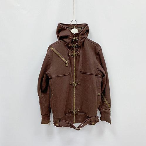 Мужская Текстильная коричневая куртка на молнии с дополнительными застежками-зам