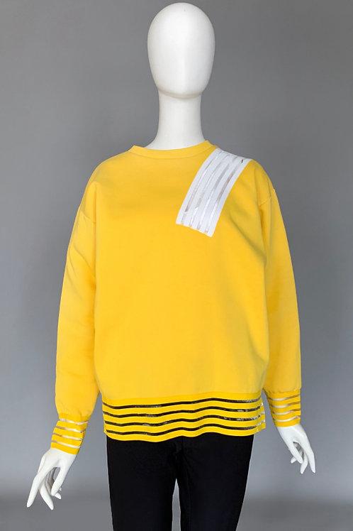 Толстовка. желтая с белой вставкой