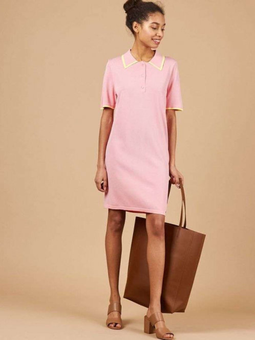 Платье-поло (желто-розовый)