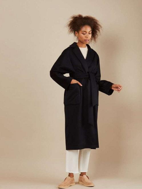 12STOREEZ Пальто-халат на подкладке, с поясом (Черный)