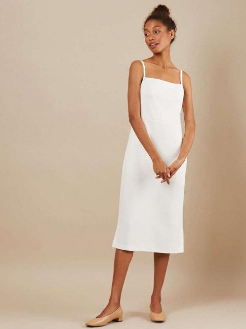 12STOREEZ Платье на бретелях с разрезами (Белый)