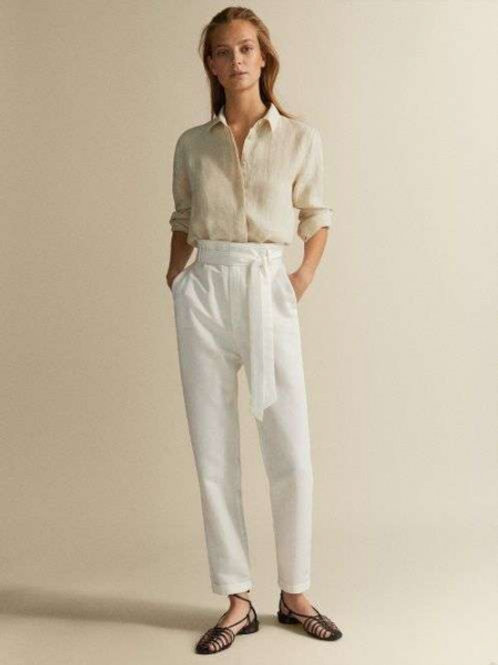Massimo Dutti брюки льняные с запахом (Белый)