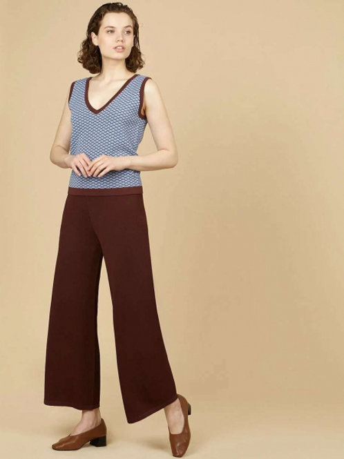 12STOREEZ Трикотажный костюм, брюки и жилет (голубой-коричневый)
