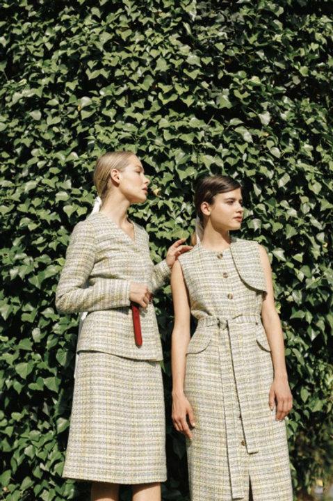 Комплект; жакет и юбка из твида