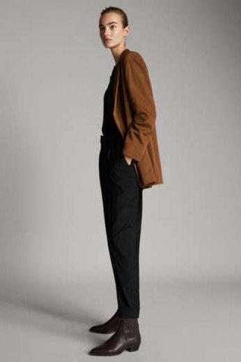 Massimo Dutti брюки в спортивном стиле из шерсти (черный)