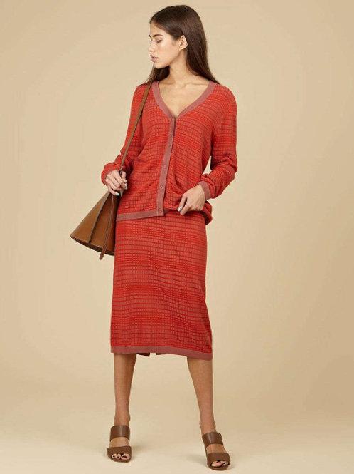 12Storeez костюм; кардиган и юбка в прямую клетку (красный)