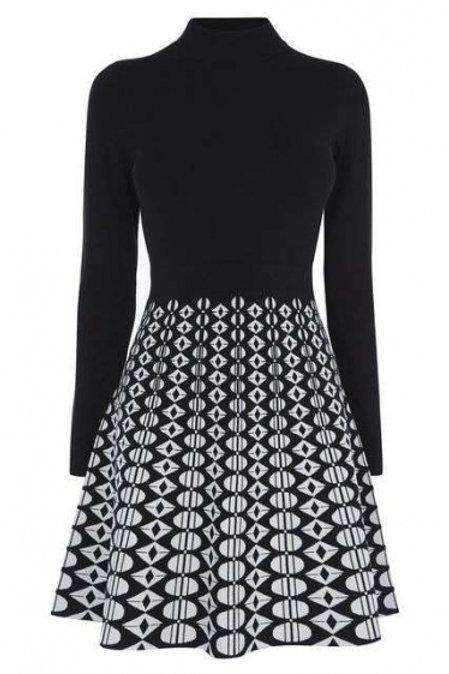 karen millen черно/белое платье