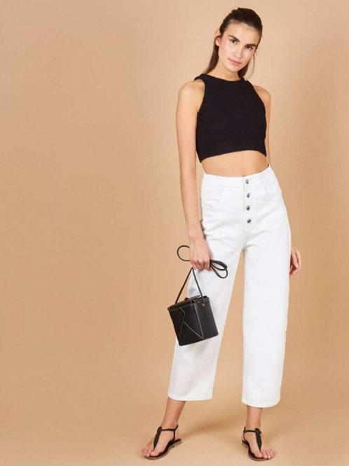 12STOREEZ джинсы широкие на пуговицах (белый)