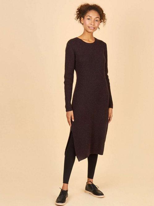 Шерстяное платье с разрезом (темно-коричневый)