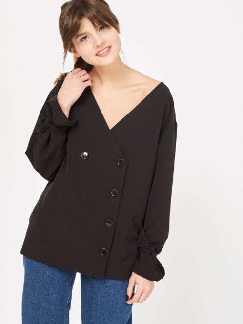12STOREEZ Блуза на завязках (Черный)