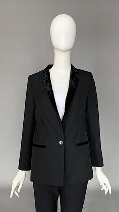 Двубортный пиджак с бархатным воротником