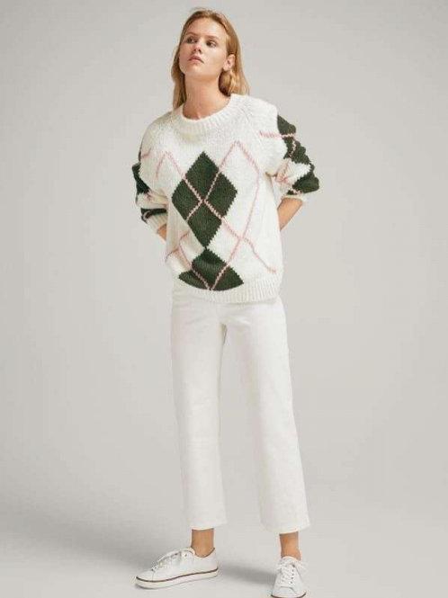 Massimo Dutti свитер в рубик (белый)