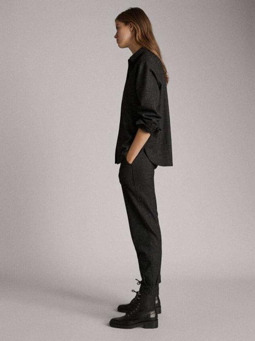 Massimo Dutti брюки из тонкой шерсти (серый)