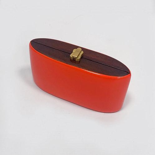 Клатч оранжевый деревянный Rocio