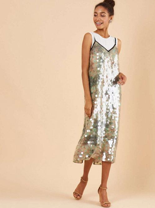 12STOREEZ платье мини на тонких бретелях с пайетками