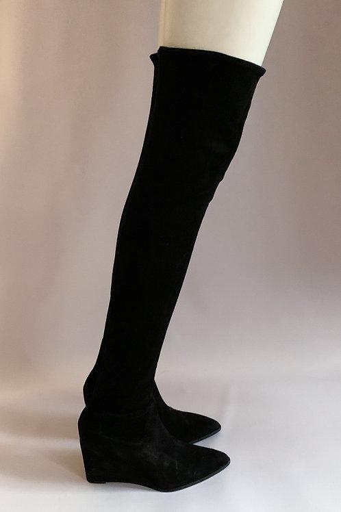 Черные, замшевые сапоги чулки