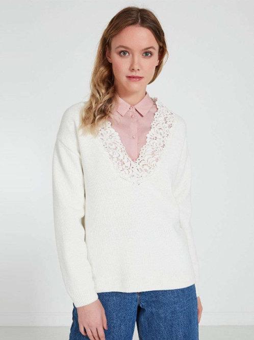 Akhmadullina Dreams пуловер с вырезом (белый)