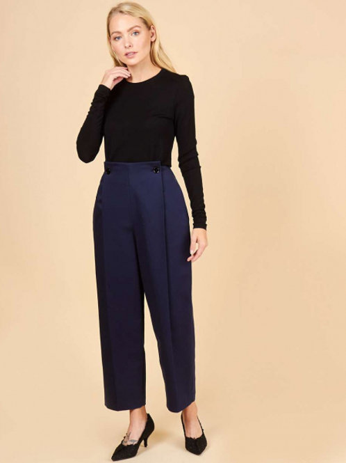 12STOREEZ брюки широкие со складками (темно-синий)