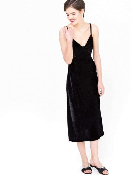 12Storeez Платье-комбинация из бархата (Черное)