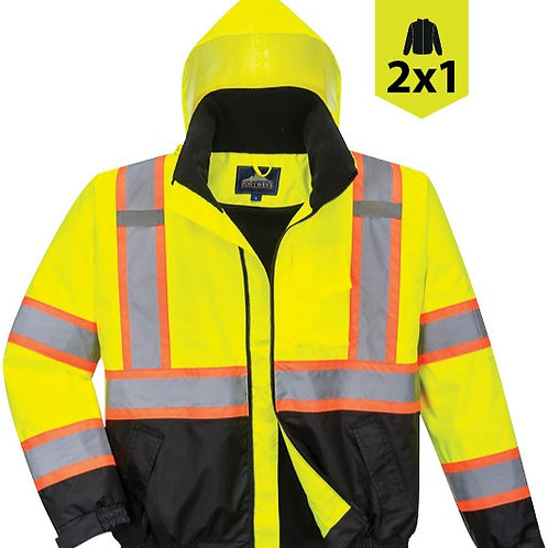 Hi-Vis 2-in-1 Contrast Tape Bomber Jacket US367