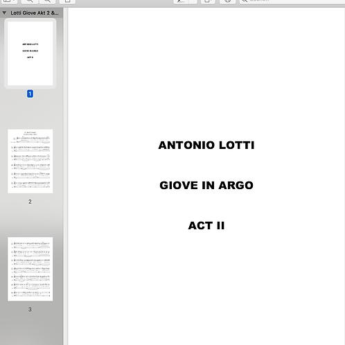 Antonio Lotti I Giove in Argo, Acts 2 & 3