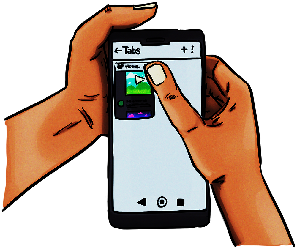 A drawing of my hands tapping to close a Twitter tab on a phone browser.