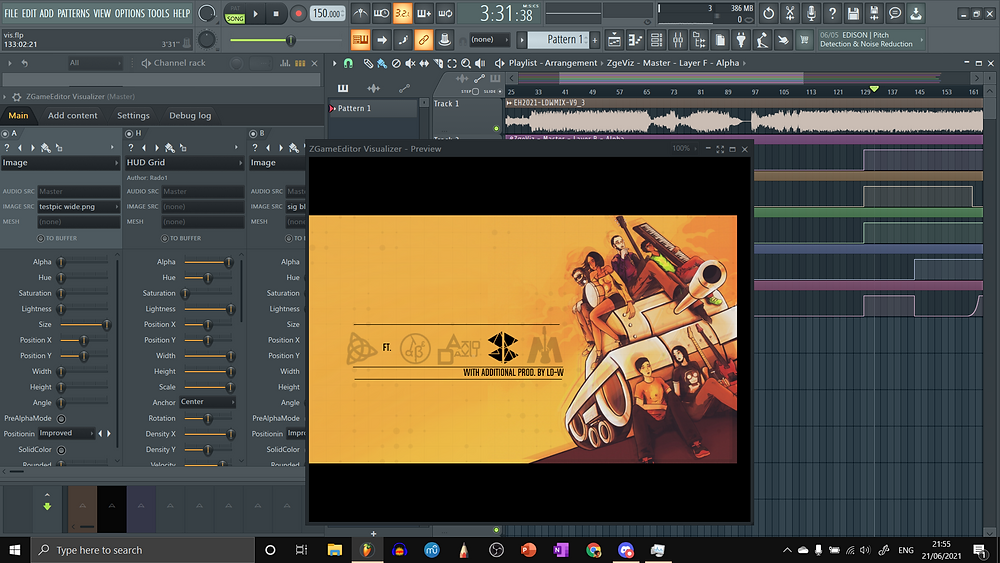 """This is a screen grab from FL Studio 20. Open on here are the playlist with the audio signal and automation clips, and a default plugin called ZGameEditor Visualizer, which helps us make visualisers. The artwork which I described earlier is shown on the mini-screen of ZGameEditor Visualizer, in widescreen format rather than square. In the negative space are black-coloured logos of all of us who were involved in the making of Variations -- Troisnyx featuring AlbeGian, AkioDaku, BBank, and Mackievellian. Beneath these logos is a line, and beneath that is text aligned right: """"With additional prod. by LD-W."""" Above the logos and below the text are two lines from which bars would rise and fall to the beat of the music."""