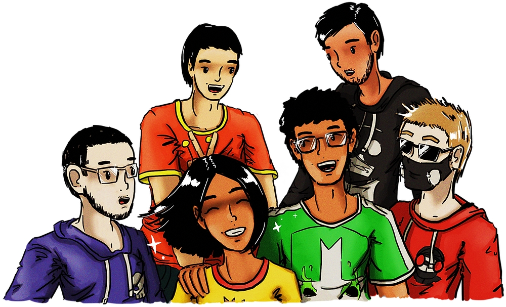 A drawing of all six of us who were involved in the making of Variations on Endless Handbag, which looks like it's out of a cartoon. All wear casual clothing featuring Newgrounds mascots: BBank has Alien Hominid on his shirt, Mackievellian has Steve, LD-W has Hank from Madness, Albe has the green Castle Crasher, I have a hint of the Strawberry Clock's crown, and AkioDaku has Dad. Refer to caption below image for the order in which we appear.