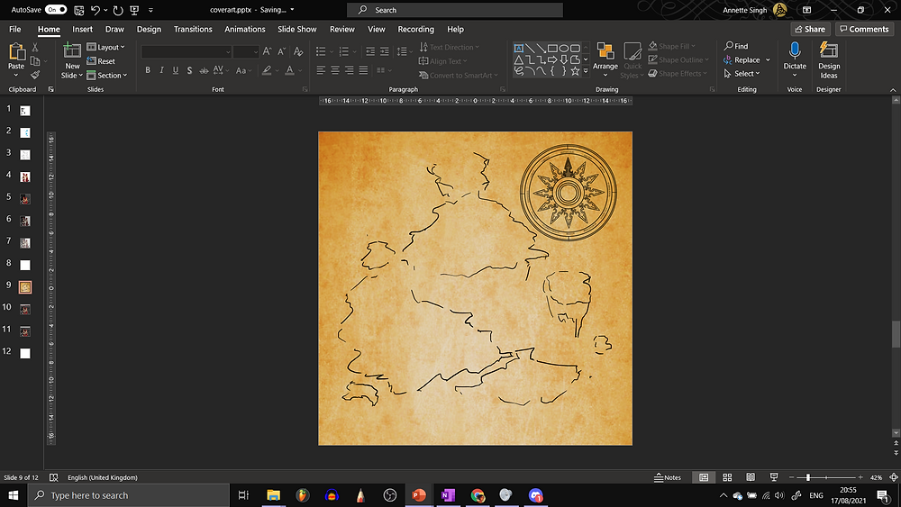 This is a screenshot from 17.08.2021, which shows my first draft of the Select Adventure artwork. There is no title here. The parchment background is there, and the 12-directional compass rose occupies a sizeable part of the upper right corner. The rest of the image has some very sketchy outlines of floating islands that I drew on with black ink using PowerPoint's Draw fuction.