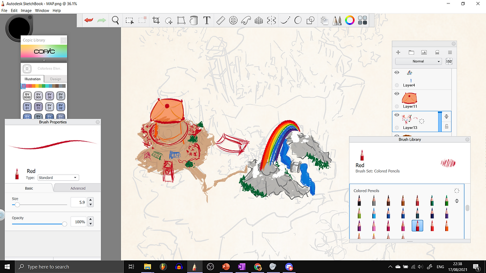 This is a screenshot from Autodesk Sketchbook, where the above rough image is here in the background, almost transparent, and in this screenshot I am drawing various buildings with colour pencils. There are inklings of a Chinese-inspired city, and a river between two mountains, over which a rainbow hovers.