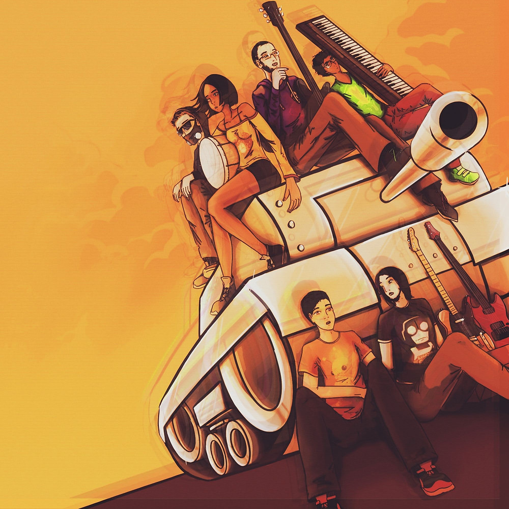 This is the Newgrounds tank against a backdrop of a sunset... or a thermonuclear explosion, take your pick. The background is orange, with eerie darker orange clouds. Sitting on the tank are, from left to right, LD-W, Troisnyx, AkioDaku, and AlbeGian. The latter three are holding their respective instruments in their hands; a drum, a bass guitar, and a keyboard. On the ground in front of the stationary tank are BBank and Mackievellian, seated down. Next to Mackievellian are two guitars, a blonde Telecaster and a red Ibanez, which are BBank's and Mackie's guitars respectively. Both are resting on the front of a tank, and are propped up by a cardboard box which is just out of sight.