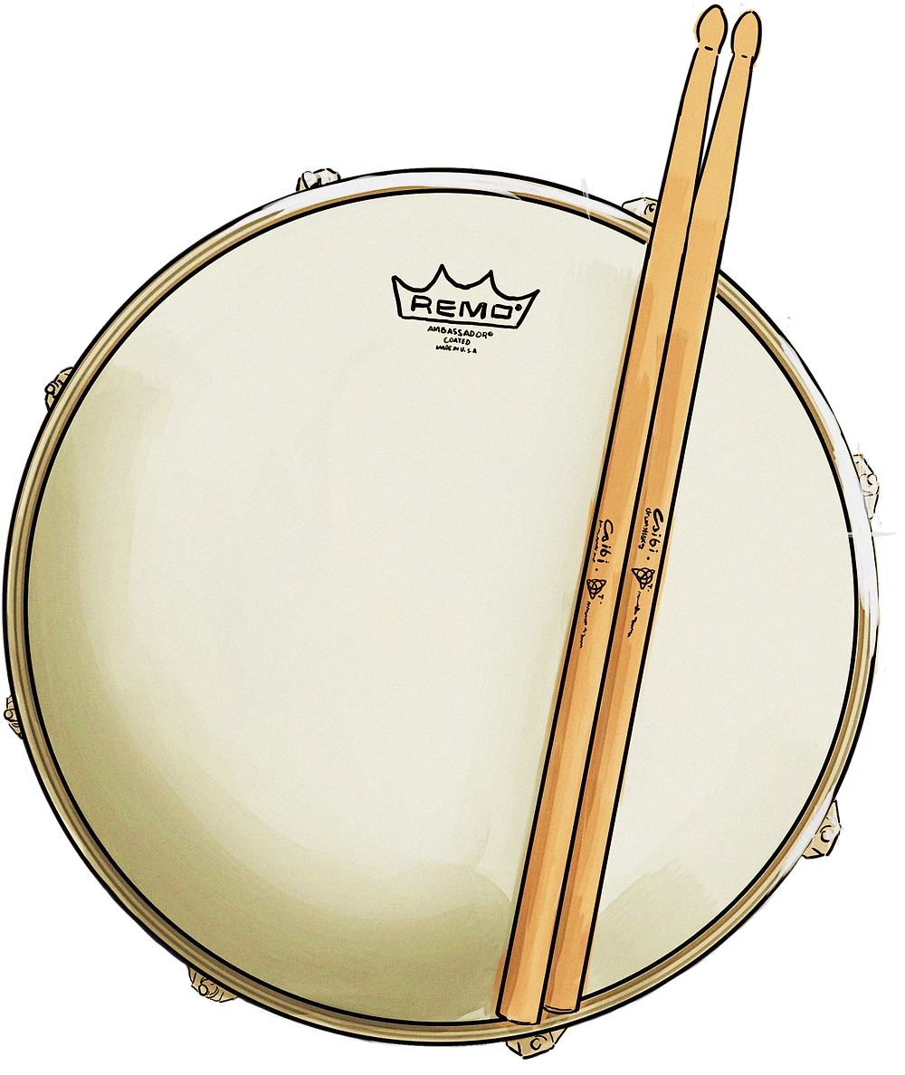 This is a drawing of my snare drum from top view -- chrome rim, Remo Ambassador coated head, and Csibi drumsticks that have been customised to have my tilted triquetra symbol and name on them.