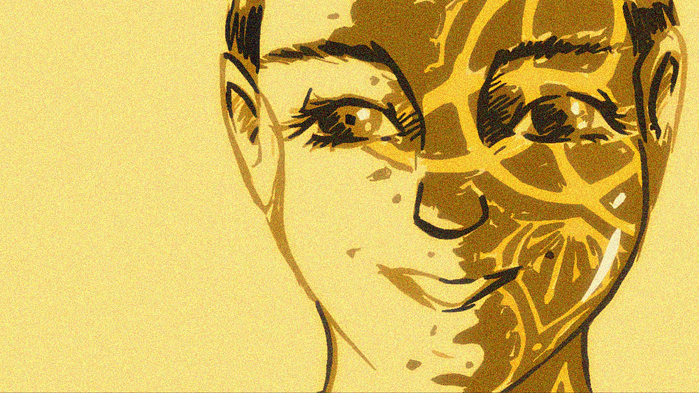 A drawing of my painted face, eyes looking straight at the viewer, smiling. I only used shades of yellow for this.
