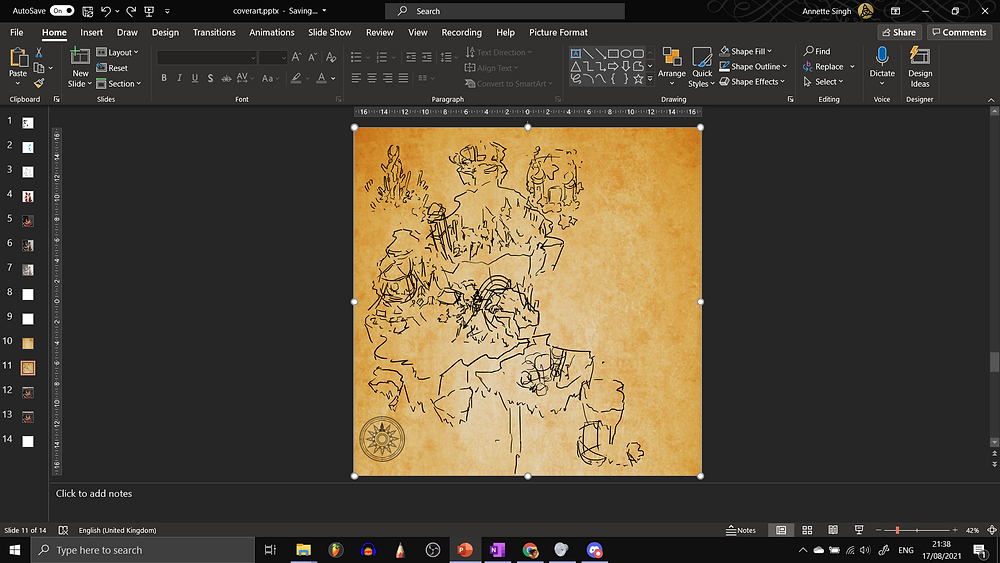 Another PowerPoint screenshot. Unlike the one before, the compass rose is now small and on the bottom left corner. There are very sketchy details of landmarks that I'd planned to add in this map, that I scrawled on with black ink, again using PowerPoint's Draw function.