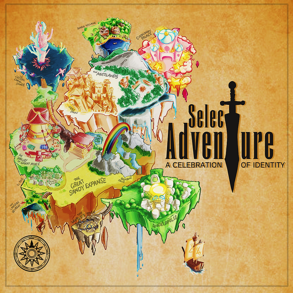 """The album artwork of Select Adventure: A Celebration of Identity. The title is in Enge Etienne font, the Final Fantasy font, with a stylised sword serving as the T in both the words """"Select Adventure."""" The subtitle is in smaller text below. On the left of it are various fantasy islands of different settings, based on the songs in the album. It is laid out like a map in a role-playing game, and there is an archaic compass rose at the bottom left. The background is parchment. I go over the description of each island later on in the post!"""