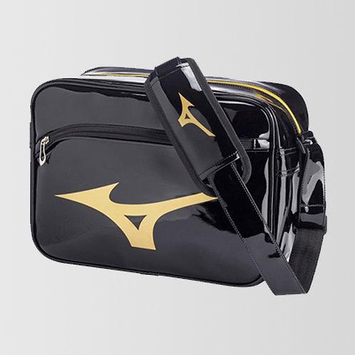 """Большая лакированная сумка """"Mizuno"""" черно-золотая"""