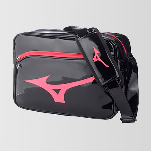 """Большая лакированная сумка """"Mizuno"""" черно-розовая"""