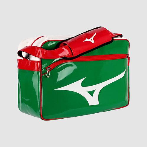 """Большая лакированная сумка """"Mizuno"""" бело-зелено-красная"""
