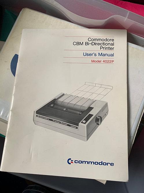 Commodore printer user manual 4022p