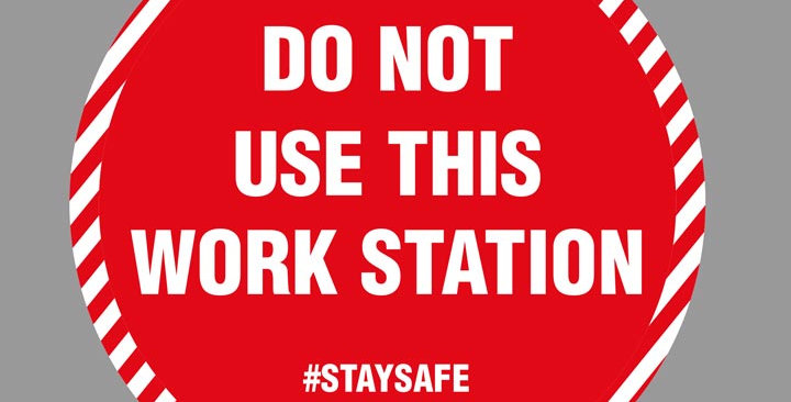 Covid 19 do not use this work station vinyl sticker