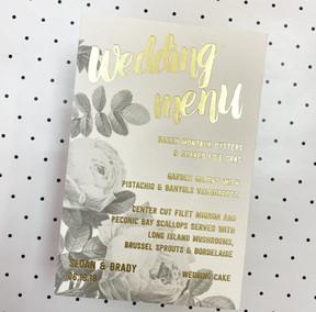 Foil Wedding Menu