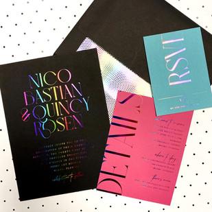 Nico & Quincy Wedding Rainbow Foil